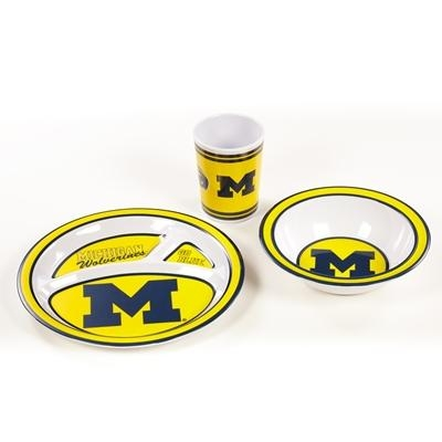 Ncaa College Michigan Mich Wolverines Kids Dish Sets - 31103 - Michigan Kid's Dish Set 31103