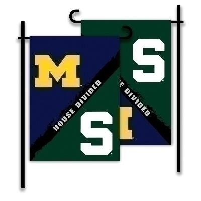 Ncaa College Michigan State Msu Spartans 2sided Garden Flags - 83293 - Michigan / Michigan St. House Divided Garden Flag 83293