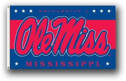 """Ncaa College Mississippi Ole Miss Miss Rebels 3x5 Flags - 95116 - Mississippi """"ole Miss"""" 3x5 Flag 95116"""