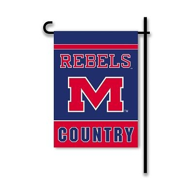 """Ncaa College Mississippi Ole Miss Miss Rebels 2sided Garden Flags - 83216 - Mississippi """"rebels Country"""" Garden Flag Two Sided 83216"""
