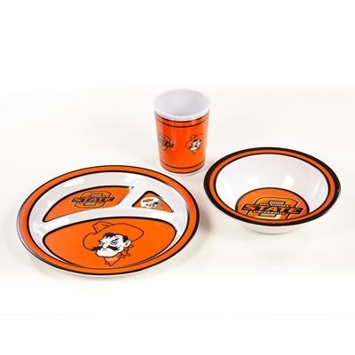 Oklahoma State Kid's Dish Set - 31147 - Ncaa College Oklahoma State Osu Cowboys Kids Dish Sets 31147