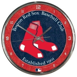 Boston Red Sox Round Chrome Wall Clock - 1094327932 - Mlb Baseball Boston Red Sox Clocks 1094327932