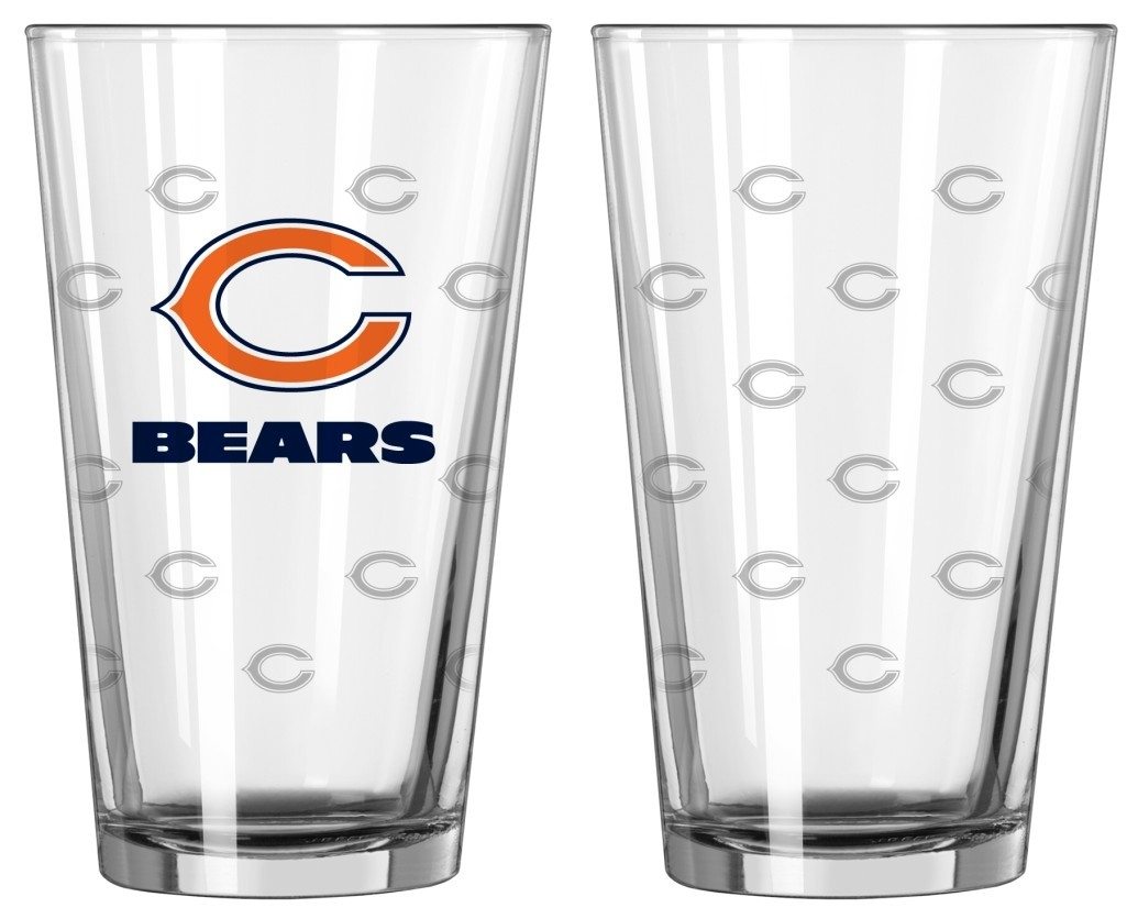 Chicago Bears Satin Etch Pint Glass Set - 4245102200 - Nfl Football Chicago Bears Tumblers And Pint Glasses 4245102200
