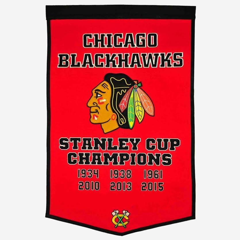 Chicago Blackhawks Banner 24x36 Wool Dynasty - 7408878010 - Nhl Hockey Chicago Blackhawks Banners 7408878010