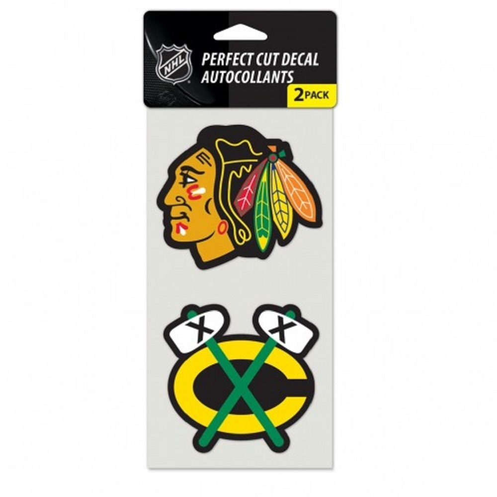 Chicago Blackhawks Set Of 2 Die Cut Decals - 3208547968 - Nhl Hockey Chicago Blackhawks Decals 3208547968