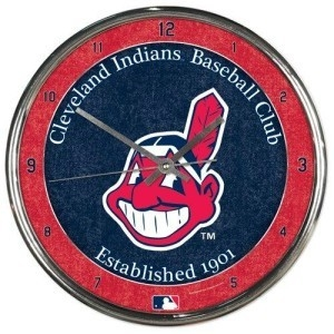 Cleveland Indians Round Chrome Wall Clock - 1094327937 - Mlb Baseball Cleveland Indians Clocks 1094327937