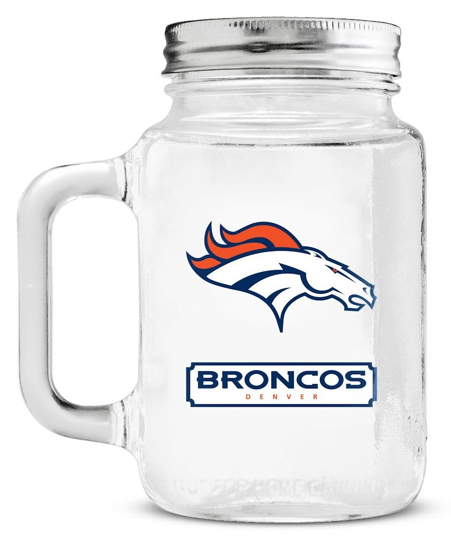 Denver Broncos Mason Jar Glass With Lid - 9413101813 - Nfl Football Denver Broncos Shot Glasses 9413101813