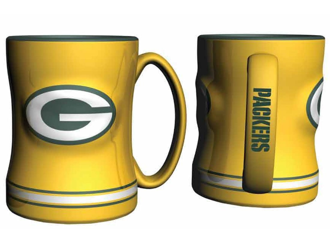 Green Bay Packers Coffee Mug-14oz Sculpted Relief-yellow - 4675724231 - Nfl Football Green Bay Packers Coffee Mugs 4675724231
