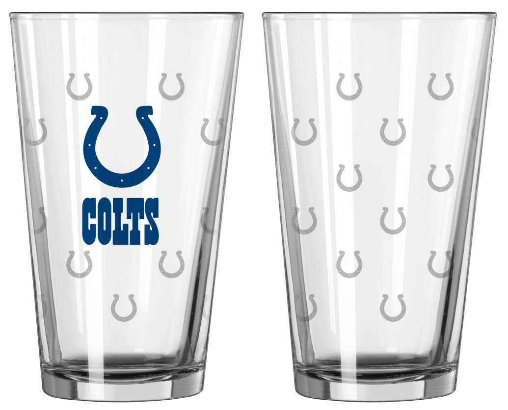 Indianapolis Colts Satin Etch Pint Glass Set - 4245102208 - Nfl Football Indianapolis Colts Tumblers And Pint Glasses 4245102208