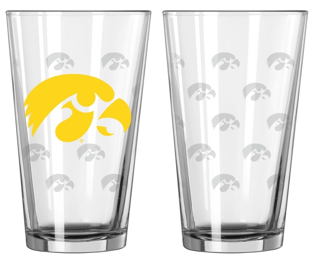 Iowa Hawkeyes Satin Etch Pint Glass Set - 4245102301 - Ncaa College Iowa Iowa Hawkeyes Tumblers And Pint Glasses 4245102301