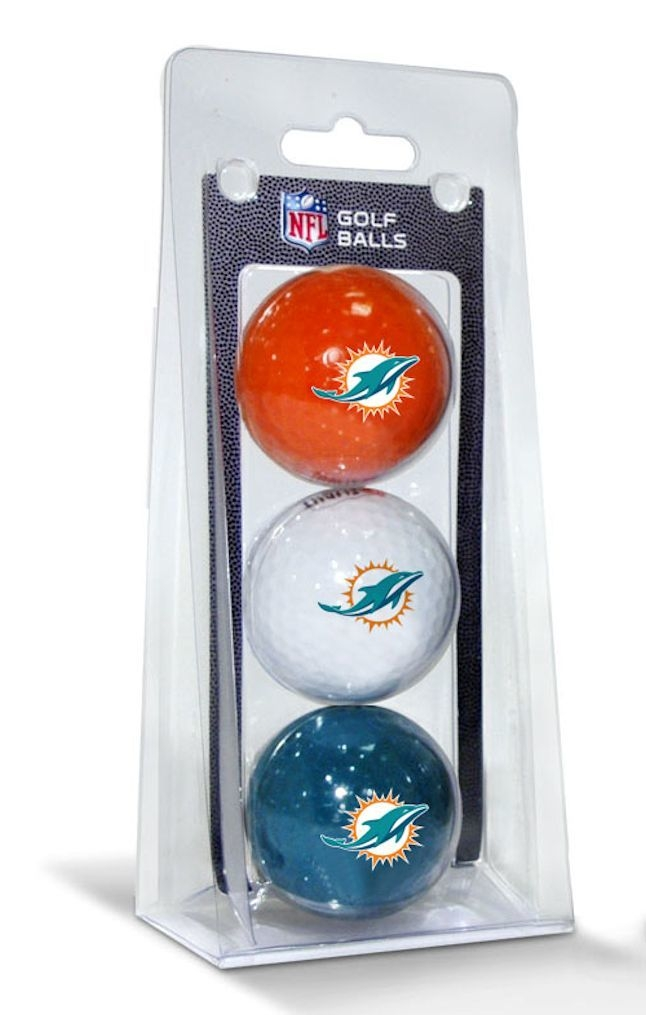 Nfl Football Miami Dolphins Balls - 3755631505 - Miami Dolphins 3 Pack Of Golf Balls 3755631505
