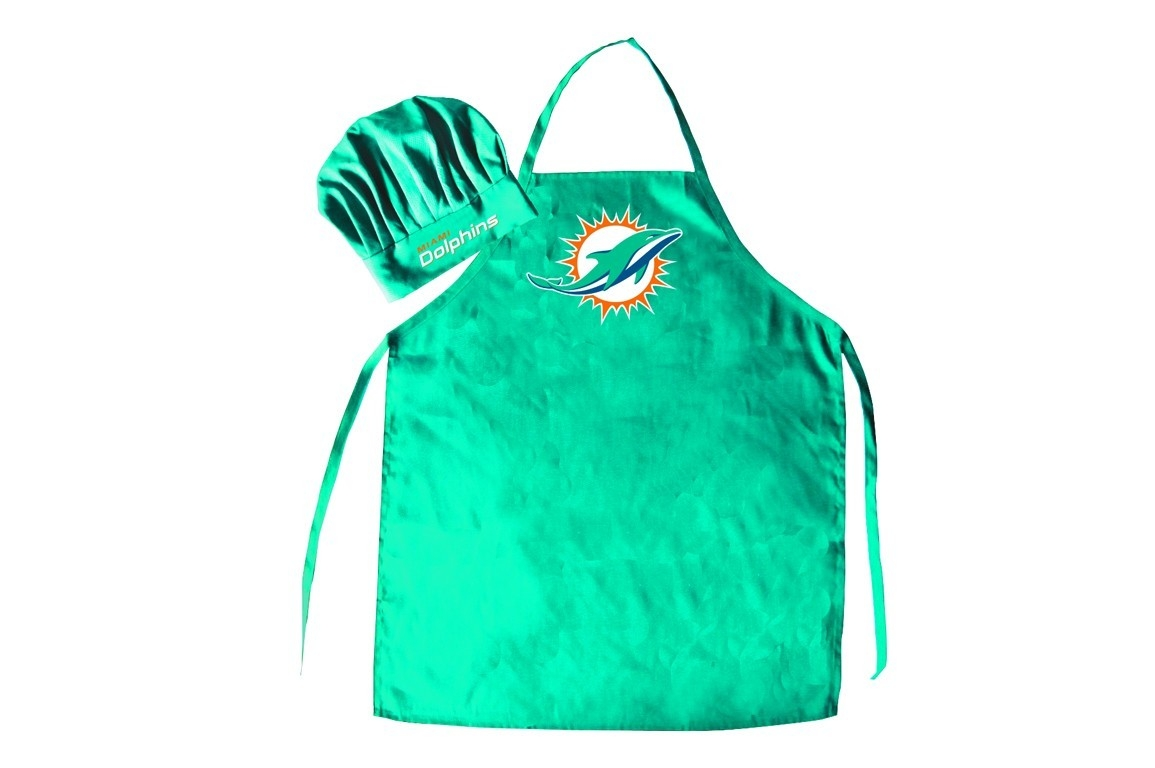 Miami Dolphins Apron And Chef Hat Set - 5717535318 - Nfl Football Miami Dolphins Aprons 5717535318