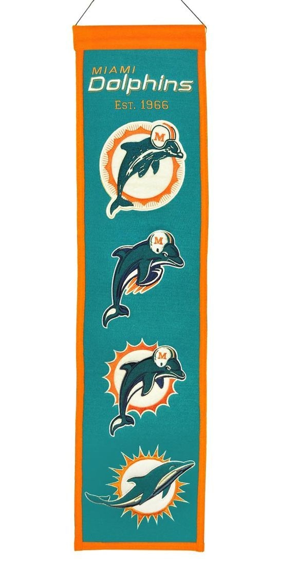 Miami Dolphins Banner 8x32 Wool Heritage - 7408844044 - Nfl Football Miami Dolphins Banners 7408844044