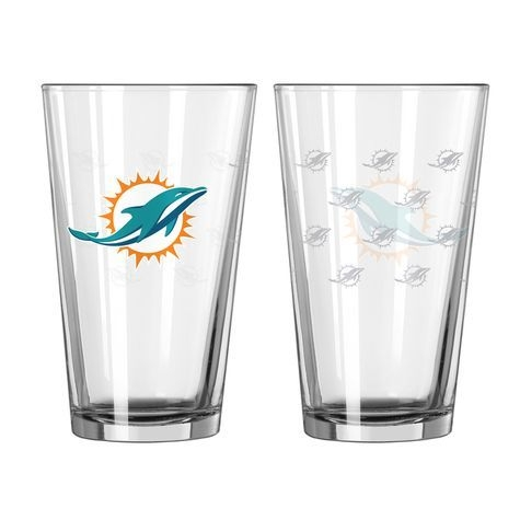 Nfl Football Miami Dolphins Tumblers And Pint Glasses - 4245102211 - Miami Dolphins Satin Etch Pint Glass Set 4245102211
