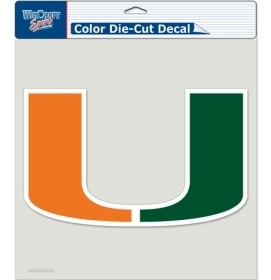 Ncaa College Miami Mia Hurricanes Decals - 3208580333 - Miami Hurricanes Decal 8x8 Die Cut Color 3208580333