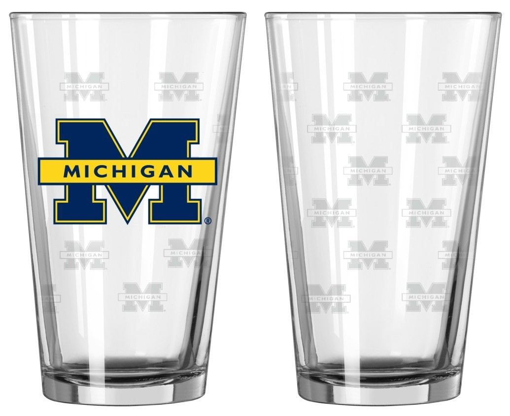 Ncaa College Michigan Mich Wolverines Tumblers And Pint Glasses - 4245102312 - Michigan Wolverines Satin Etch Pint Glass Set 4245102312