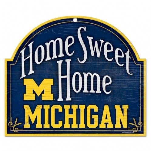 Ncaa College Michigan Mich Wolverines Indoor Home Office Signs - 3208587371 - Michigan Wolverines Wood Sign-arched Home 3208587371