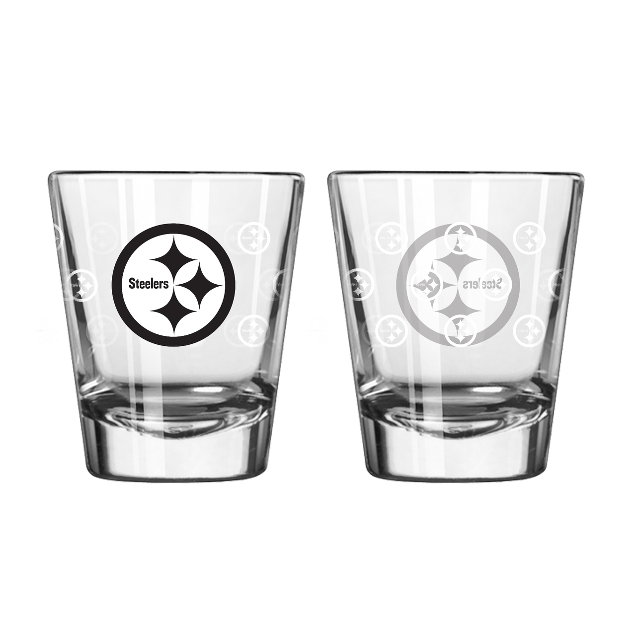 Pittsburgh Steelers Shot Glass-2 Pack Satin Etch-new Upc - 8886024840 - Nfl Football Pittsburgh Steelers Shot Glasses 8886024840