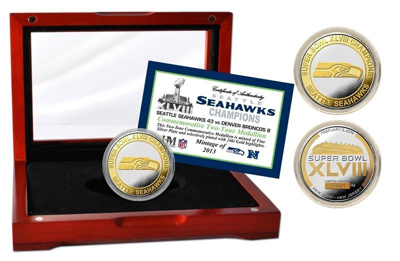 Seattle Seahawks Official 2-tone Coin-super Bowl 48 - 3320482802 - Nfl Football Seattle Seahawks Photo Mints 3320482802