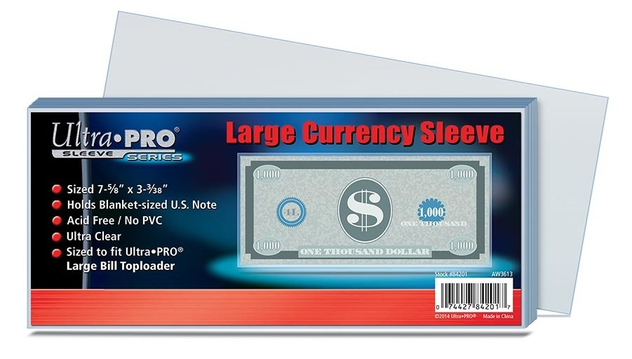 Ultra Pro Large Currency Sleeve-(100 Per Pack) - 7442784201 - Ncaa College Peru State Peru Bobcats Bags Sleeves 7442784201