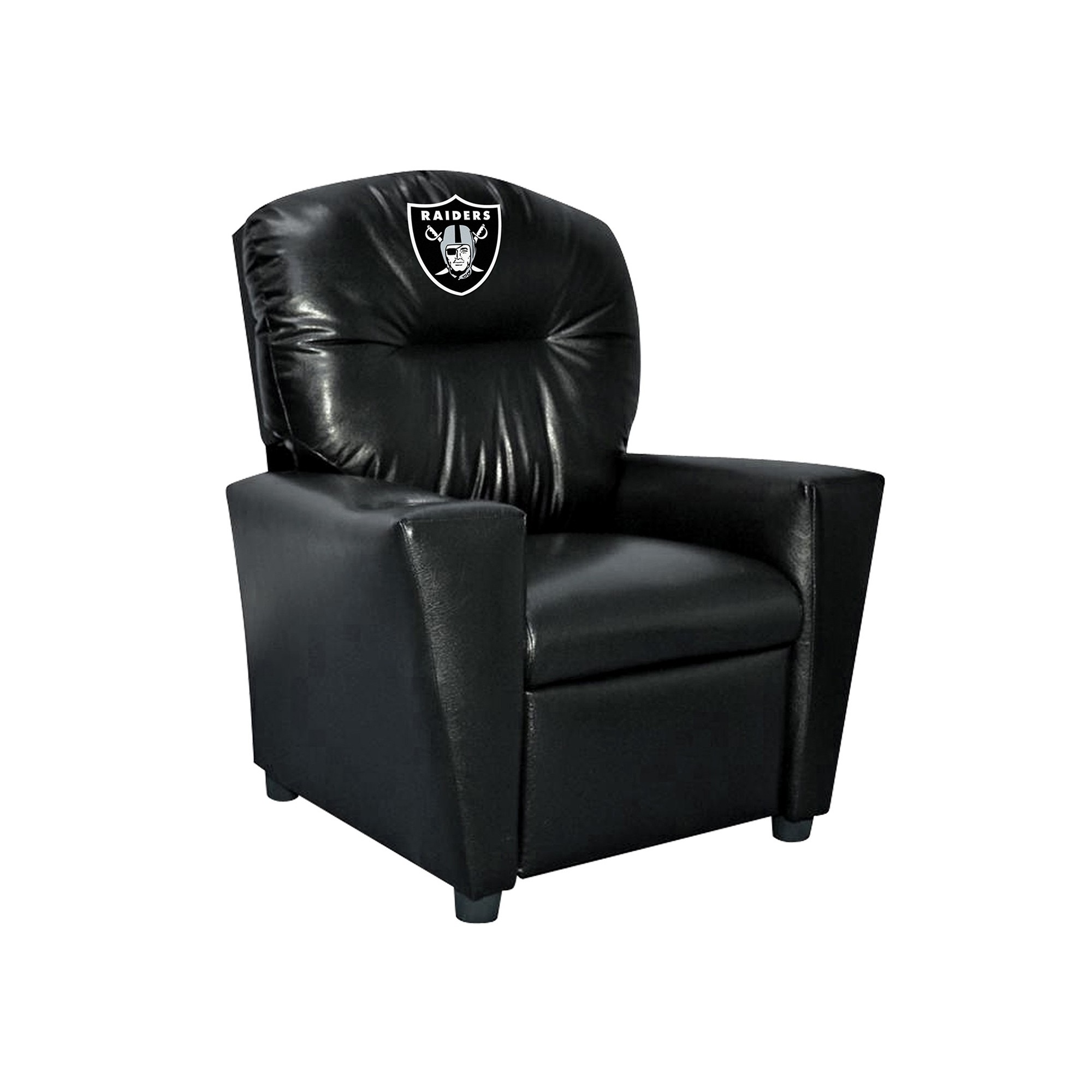 Oakland Raiders Kids Faux Leather Recliner - 107-1010 - Nfl Football Oakland Raiders Kids Dish Sets 107-1010