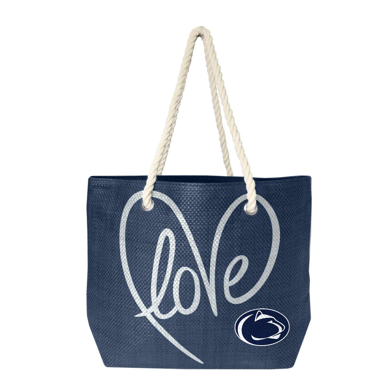 Ncaa College California University Of Pennsylvania Cup Vulcans Purses Wristlets Totes - 100651-psu-navy-slvr - Pennsylvania State University Rope Tote 100651-PSU-NAVY-SLVR
