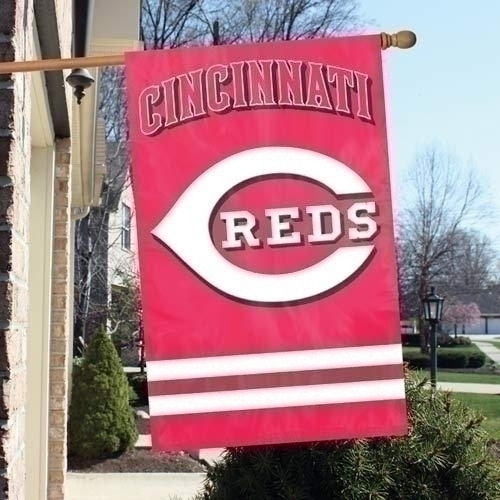 Mlb Baseball Cincinnati Reds Indoor Home Office Banners - Afcin - Cincinnati Reds Appliqu Banner Flag AFCIN