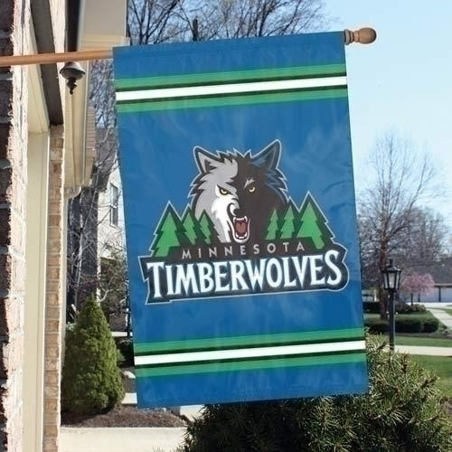Nba Basketball Minnesota Timberwolves Indoor Home Office Banners - Aftim - Minnesota Timberwolves Appliqu Banner Flag AFTIM