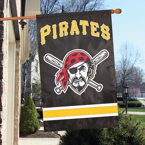 Mlb Baseball Pittsburgh Pirates Indoor Home Office Banners - Afpip - Pittsburgh Pirates Appliqu Banner Flag AFPIP