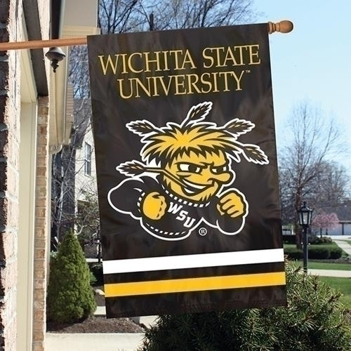 Ncaa College Wichita State Wsu Shockers Indoor Home Office Banners - Afwsu - Wichita State Shockers Appliqu Banner Flag AFWSU