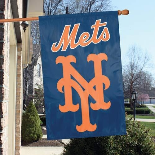 Mlb Baseball New York Mets Indoor Home Office Banners - Afnym - New York Mets Appliqu Banner Flag AFNYM